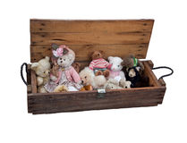 Old teddy bears in wooden box. Isolated. Old wooden box with vintage teddy bears at white background Stock Photography