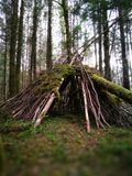 Old TeePee. In Forest in the Scottish highlands Royalty Free Stock Image