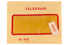 Old telegram envelope with urgent mark Royalty Free Stock Image