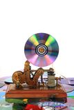Old telegraph with CD or DVD Stock Images