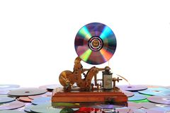 Old telegraph with CD or DVD Royalty Free Stock Image