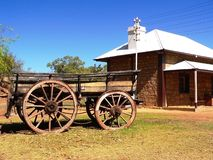 Old Telegraph Station, Alice Springs, Central Australia. Wagon outside the original 19th Century Telegraph Station royalty free stock photos