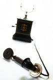 Old telephone. The Danish Jydsk phone, or corporation set, followed on the skeleton by enclosing the works and can still be found in remarkably good condition stock photography