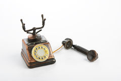 Old telephone. Old toy telephone isolated on white background Royalty Free Stock Photography