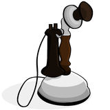 Old telephone. Cartoon illustration showing an old telephone model Stock Photos