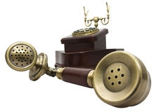 Old telephone. Vintage telephone isolated against a white background Stock Photo