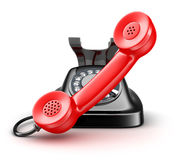 Old telephone black and red Royalty Free Stock Photo