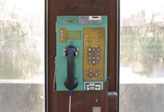 Old telephone booth machine stock images