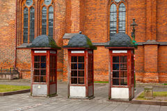 Old telephone booths Stock Photo