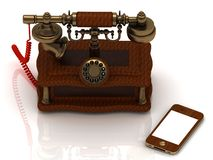 Old telephone is covered with trees, and a new smartphone Royalty Free Stock Image