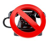 Old telephone with forbidden sign. Isolated on white background Stock Photography