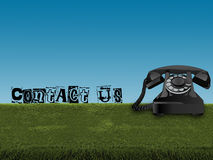 Old telephone in grass Royalty Free Stock Image