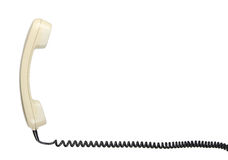 Old telephone headset with helix cable Royalty Free Stock Photos