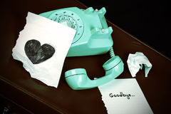 Old Telephone and Heart Shape Stock Photos