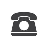 Old telephone icon vector, filled flat sign, solid pictogram isolated on white. Stock Images