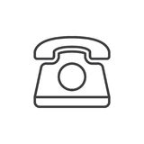 Old telephone line icon, outline vector sign, linear style symbol isolated on white. Royalty Free Stock Photography