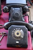 Old telephone machines at bazaar. Old telephone machines at antique bazaar Stock Photos