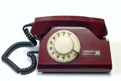 Old Telephone On White Stock Images