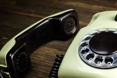 Free Old Telephone On Wooden Desk Stock Images - 109465364