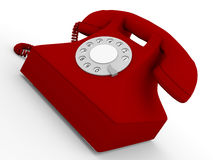 Old telephone in red Royalty Free Stock Photos