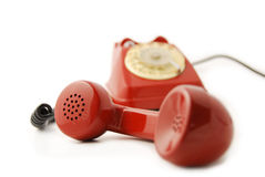 Old Telephone red - focus on microphone Royalty Free Stock Photo