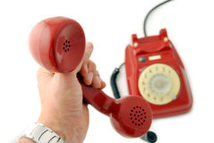 Old Telephone red - hand Royalty Free Stock Images