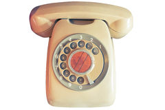 An old telephone with rotary dial. On glass cabinet Stock Photo