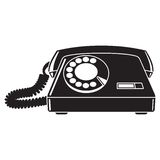 Old telephone 60-80's. Black and white vector. Illustration Stock Images