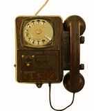 Old telephone set. (On the device the instruction is in Russian written - by a call of the operator lift the receiver press the button royalty free stock images
