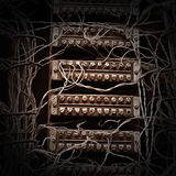 Old telephone switchboard. Image old telephone switchboard  closeup Royalty Free Stock Photo