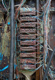 Old telephone switching box with wires Royalty Free Stock Photo