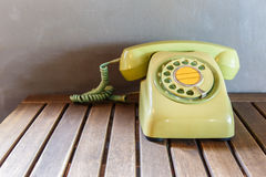 Old telephone on wood table, Retro,vintage Royalty Free Stock Photos