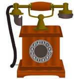 Old  telephone with wooden body. On white background Stock Photos