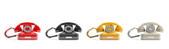 Old telephones on white background. 3d illustration Royalty Free Stock Images