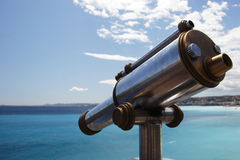 Old telescope and the Med. Old telescope overlooking the Med, Nice, France stock images