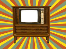 Old television and retro  sun rays Stock Photo