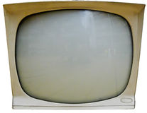 Old Television Screen Isolated. A grungy vintage modern plastic television screen isolated on white background Stock Photography