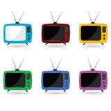 Old television in six colors with antenna Stock Photo