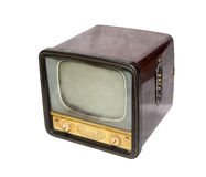 Old television, top view. Old brown tv, top view. retro Style Royalty Free Stock Photography