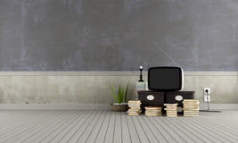 Old television in a vintage room Royalty Free Stock Images