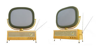 Old televisor isolated on a white background Stock Images