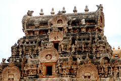 Old temple. Micro work hindhu temple top view in south india Stock Images
