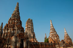 Old Temple Ayutthaya. And The Blue Sky Royalty Free Stock Photos