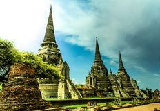 Old temple in Ayutthaya period. World Heritage in Thailand (Wat Phrasri Sanphet royalty free stock image