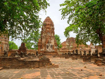 Old Temple and Buddha statue in Ayutthaya Historical Park.  Royalty Free Stock Images