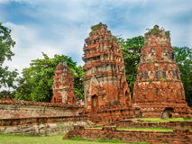 Old Temple and Buddha statue in Ayutthaya Historical Park. Of Thailand, Wat Mahathat Royalty Free Stock Photos
