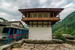 Old Temple in Himalayas, Himachal Pradesh, India stock images