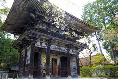 Old temple with nice sakura flower Stock Photo