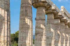 The old temple of Paestum. Paestum, Italy, was a major ansient Greek city on the coast of the Tyrrhenian sea in Great Graecia. The Temples of Paestum was built royalty free stock photo