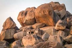 Old temple between stones in Hampi, India Stock Photography